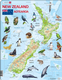 Map of New Zealand/ Aoteroa with Animals- Frame/Board Jigsaw Puzzle 29cm x 37cm (LRS  A4-GB)